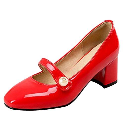 TAOFFEN Femmes Talons Chunky Escarpins red