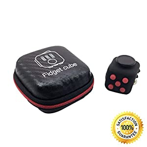 Best Quality Fidget Cube + bonus case - Relieves Stress And Anxiety fidget spinner - Long lasting Fidget Toy - fidget toy spinner finger - fun Cube Anxiety Attention -Toy design for Children and Adults with ADHD ADD OCD Autism - Black and red office gadge