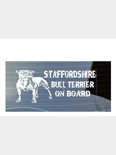 """Aufkleber, für Autofenster, englischsprachig, """"Staffordshire Bull Terrier on Board"""", Weiß"""