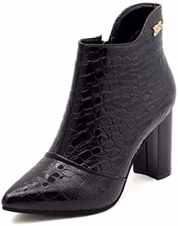 HBDLH Scarpe da Donna con Un Alto 9Cm 9Cm 9Cm Autunno E Inverno Affilato Spesso Gli Stivali.Trentotto nero | economia  23b44a