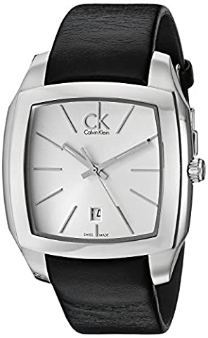 Calvin Klein Men's Quartz Watch with Silver Dial Analogue Display and Black Leather Bracelet