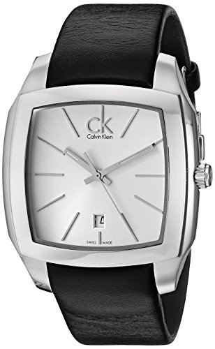 Calvin Klein Men's Quartz Watch with Silver Dial Analogue Display and Black Leather Bracelet K2K21120