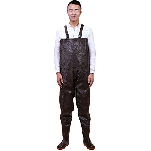 Die Für Overall Jagd (YuanDian Herren Damen Draussen Fliegenfischen Wathosen Kostüm 100% Wasserdichte Nahtlose Rutschfeste Sohle Breiten Schultergurt Atmungsaktiv Anbau Jagd Overalls Anglerhosen Watstiefel Schwarz 43)