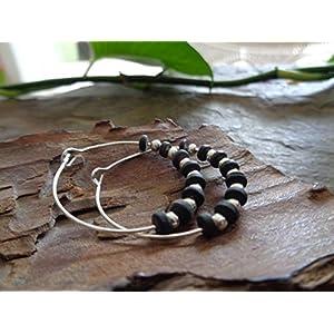 ✿ SCHWARZE KERAMIK BOHO TRIBAL CREOLEN ✿ Ohrringe im Bali Stil