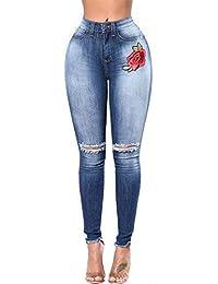 9339642b75d92 Femmes Denim Broderie Florale Déchiré Maigre Jeggings Pantalon Taille breal  Extensible Haute avec Poches Bouton Pantalon
