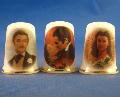 Juego 3 dedales miniatura porcelana coleccionables