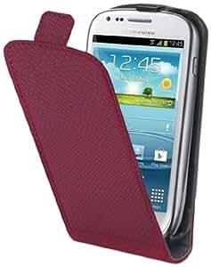 Muvit Made In Paris Pack d'Etui à Clapet Python Fuchsia + Film de Protection d'Ecran pour Samsung Galaxy S3 Mini I8190