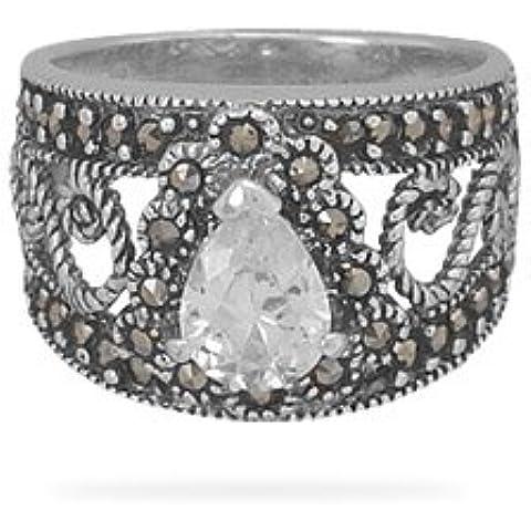 Anello in filigrana, argento Sterling e Marcasite, con 9 mm X 6 mm, a forma di pera, zirconia cubica, misura L 1/2 JewelryWeb