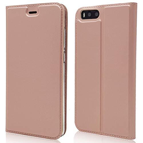 Sangrl Funda para Xiaomi Mi Note 3, Libro Cuero de la PU Leather Case Soporte Plegable Premium Flip Case para Xiaomi Mi Note 3 - Rose Gold