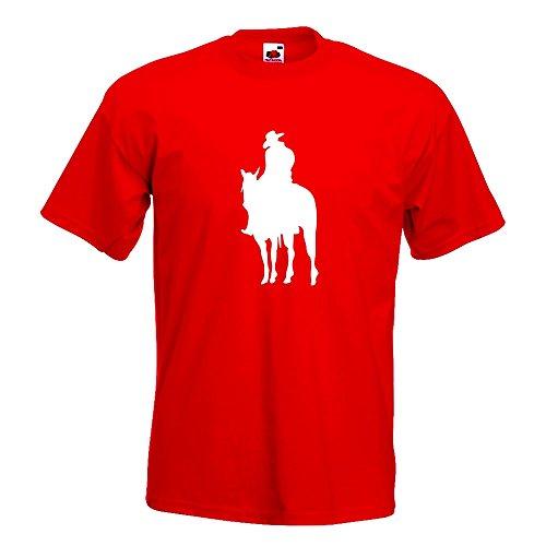 KIWISTAR - Cowboy Reiter T-Shirt in 15 verschiedenen Farben - Herren Funshirt bedruckt Design Sprüche Spruch Motive Oberteil Baumwolle Print Größe S M L XL XXL Rot