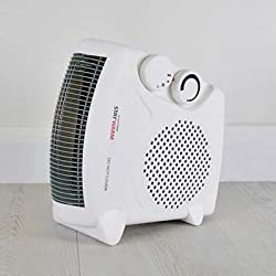 STAYWARM 2000w Upright and Flatbed Fan Heater with 2 Heat Settings/Cool Blow Fan/Variable Thermostat/Frost Watch/Overheat Protection/BEAB and GS Safety Approved - F2003WH - White