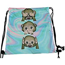 Scimmie Turn Gymbag Borsa Zaino Sport sacchetto Gymsack Hipster Trend con cordino Design Multicolore