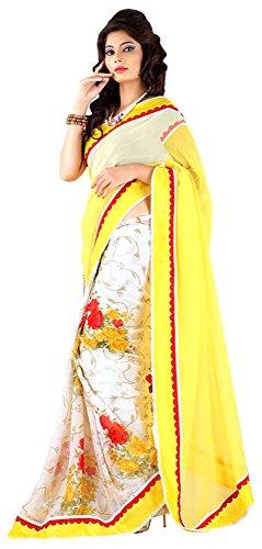 The Lugai Fashion Chiffon Saree (Sridevi 330-24_Yellow)