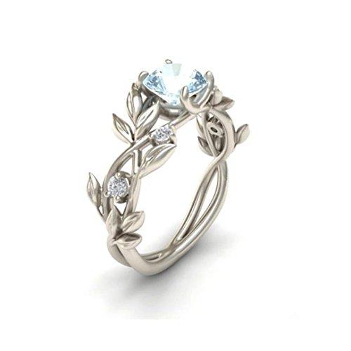 Damen Ring, HUIHUI Silver Blumen-Weinblatt Diamant Ring Engagement Ringe Prinzessin O-Ringe für Damen Mädchen (17.3, Silver)