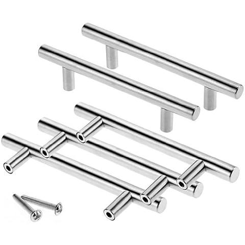 Tirador de acero inoxidable para armarios de cocina y para cajones, 5 unidades, 96 mm