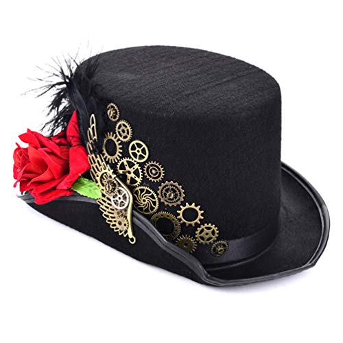 DETZFSWBG Gothic Steampunk Top Fedora Gothic viktorianischen Unisex Party schwarzen Hut Cosplay Hüte
