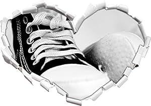 Converse All Stars scarpe forma di cuore in formato sguardo, parete o adesivo porta 3D: 62x43.5cm, autoadesivi della parete, decalcomanie della parete, decorazione della parete