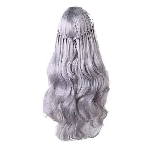 IILOOK 26-Zoll Lange synthetische Perücke Mode DIY natürliche Welle Perücke weiblichen Mittelteil hitzebeständige Rollenspiel Perücke 3 Farbe lockiges Haar schlägt langes ()