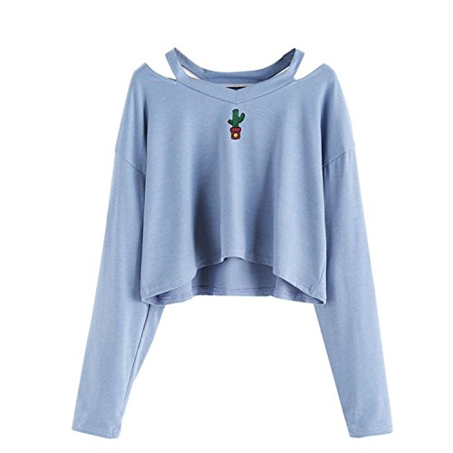 BIGHUB Small , Blue : Fashion Women Long Sleeve Off Shoulder Crop Top Sweatshirt Mingfa Casual Cactus Embroidered Pullover Tops Blouse
