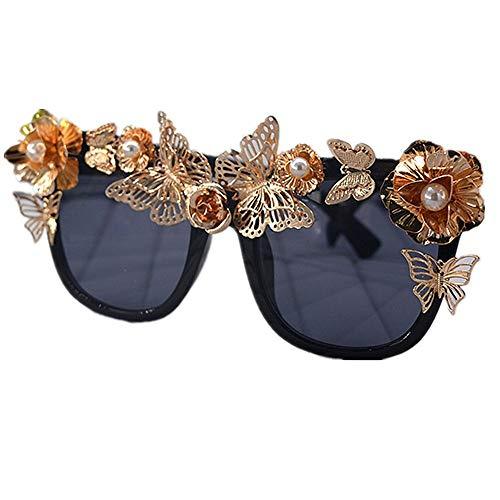 XHCP Frauen Klassische Sonnenbrille Katzenaugen Polarisierte Barock Sonnenbrille Für Frauen Handgemachte Metall Blume Und Schmetterling Gold Farbe UV Schutz Fahren Sonnenbrille