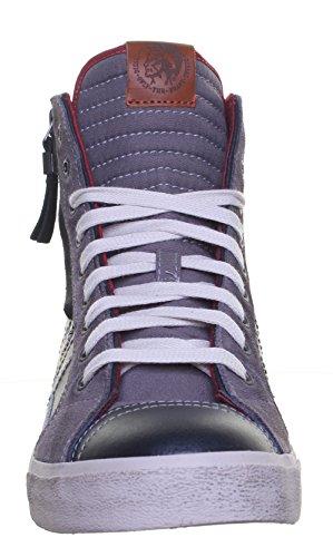 Diesel Corde D Hi Top Bottes Baskets Taille en cuir pour homme Gray Red FV1