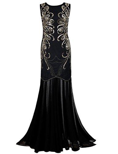 PrettyGuide Damen Ballkleid Paillette Lange Gatsby Formal Abendkleid L Gold (Der Große Gatsby Kleider)