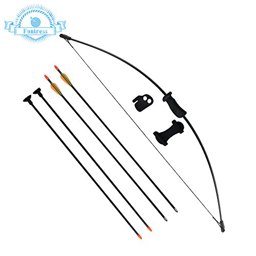 Funtress Archery Bow and Arrow Set for Kids Children Youth Outdoor Team Sports Game Hunting Toy Gift Bow Kit Set with 4 Arrows 16 Lb Adjustable Recurve Bow