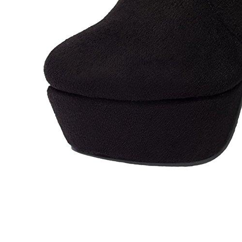 AgooLar Femme Dépolissement Zip Rond à Talon Haut De Cheville Bottes avec Décoration Métal Noir