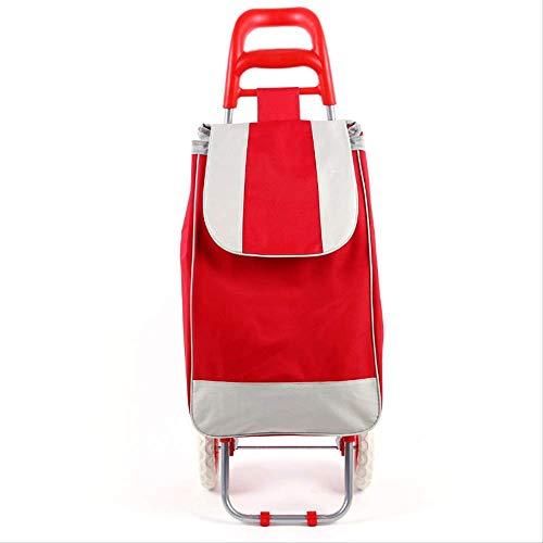 WEN FENG Einkaufstrolley Treppensteiger Einkaufstrolley 45 L Einkaufswagen Stahlgestell klappbar Supermarkt Einkaufswagen 91 X 35 X 25 cm 45L rot