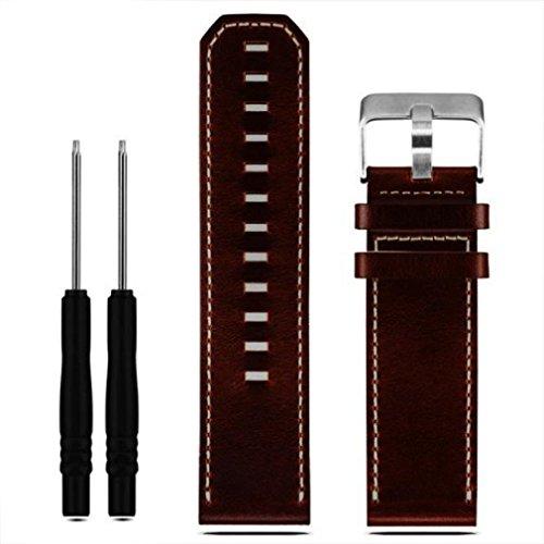 Pour Garmin Fenix 3, xinantime Sangle en cuir bande de montre de rechange avec outils, femme Homme, marron, moyen
