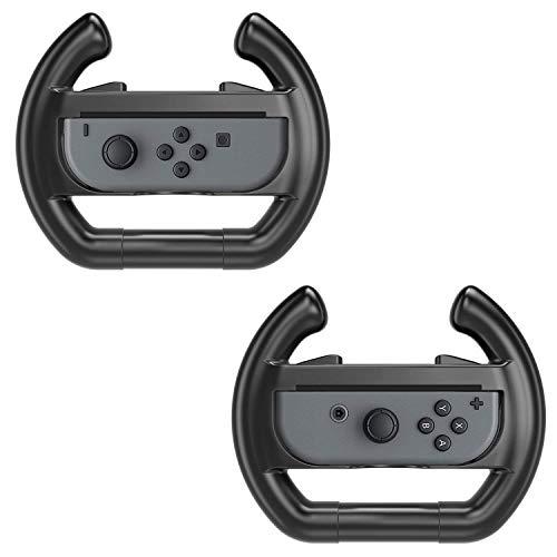 MoKo Nintendo Switch Steering Wheel, [2 Stück] Racing Griff Lenkradabdeckung Lenkradschoner Lenkrabezug Lenkradhülle für Nintendo Switch Joy-con Controller, Schwarz -