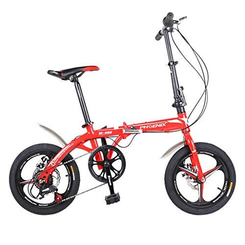Klappräder 16 Zoll Männer Und Frauen Modelle Leichte Fahrrad Erwachsene Mini Geschwindigkeit Auto Doppelscheibenbremse (Color : Red, Size : 150 * 30 * 96cm)