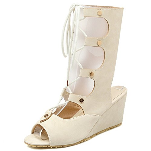 COOLCEPT Femmes Mode Lacets Sandales Orteil ouvert Compenses Slingback Chaussures Ete Boots Beige