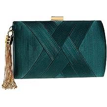 Bolso de embrague elegante de seda de la borla del bolso de embrague de las mujeres