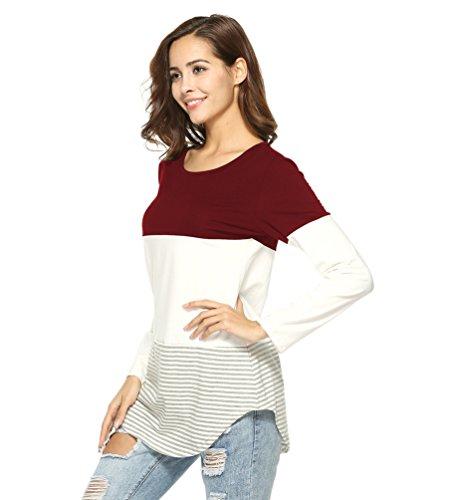 WanYang Femmes Blouses Col Rond Long T-Shirts Tops Épais Rayures À Manches Longues Lâche Casual Tee Shirt Du vin