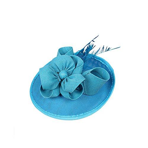 AJON Frauen Fascinator Netz Stirnband Feder Blume Haarreifen Pferderennen Festival Ball Kopfbedeckungen Cocktail Tea Party Pillbox Derby Hut,02 (Hut Dekorationen Lieferanten)