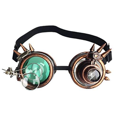 Hhyyq Kaleidoskop Sonnenbrille Urlaub Party Bunte Brille Retro Gothic Vintage Steampunk Cosplay Brille Schweißen Punk Brille(D)