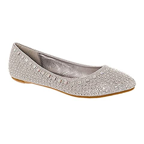 Flat Diamante and jeweled Soft Curved Ballerina Shoe 6 SILVER