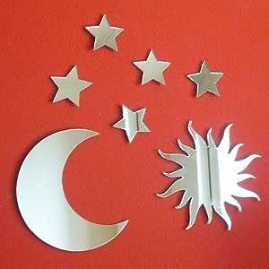 4 x 3 cm Each Specchio da parete plastica ServeWell Moon Pack of Ten Argento