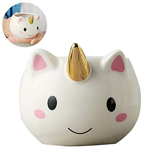 kakakooo 1PC del Unicornio Taza de cerámica Original del café 3D Tazas Diseño del Arco Iris del Unicornio Taza cambiante del Color (Oro Coating)