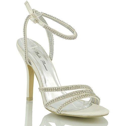 ESSEX GLAM Sandalo Donna Lacci Finto Diamante Tacco a Spillo Festa Matrimonio Avorio Satinato