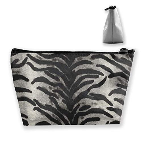 Womens Cosmetic Bag Black Leopard Print Multifunction Makeup Portable Pouch Handbag Receive Bag,Trapezoid -