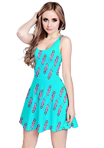 CowCow - Robe - Femme Noir/motif Angry Bird Turquoise Tribal