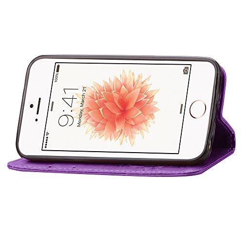 Feeltech Apple iPhone SE 5 5S Bookstyle Étui en Cuir Case à Rabat Magnétique Fermeture Coque de Protection avec Porte Carte et Stand, Ultra Slim Portefeuille Motif Case Cover pour Apple iPhone SE 5 5S Trèfle-Violet