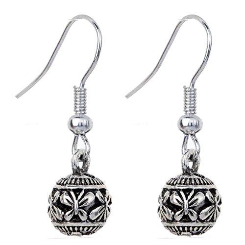 YAZILIND Tibetan Silver Plated Carve Butterfly Bead Hook Drop Dangle Earrings for Women GbPtRtdnOt