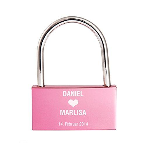 Liebesschloss mit Gravur / Namen / Datum / Herz / Großschrift - rosa / violett / pink