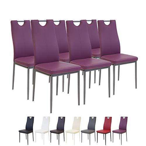 Albatros 2920 Salerno Esszimmerstühle, 6-er Set, violett