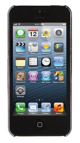 DONZO Handyhülle Flip Cover Case für das Apple iPhone 5 / 5S in Blau Flip Structure als Etui seitlich aufklappbar im Book-Style chrom / rot