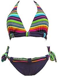 Maillot de bain femme 2 pièces bikini triangle violet et multicolore