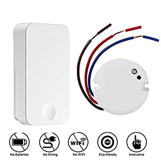 Wireless Wall Light Switch Kit, YLX Remote Control Switch No Wiring No Battery (Self-Powered), Relay Receiver for Lights Ceiling Fans Lighting Lamps, Easy to Install, Wall Switch Can Mount Anywhere
